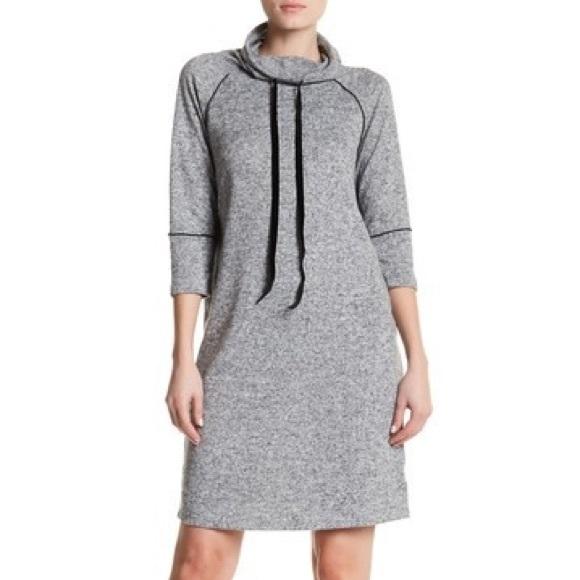 c6e88e9b745 Grey Cowl Neck Drawstring Sweater Dress